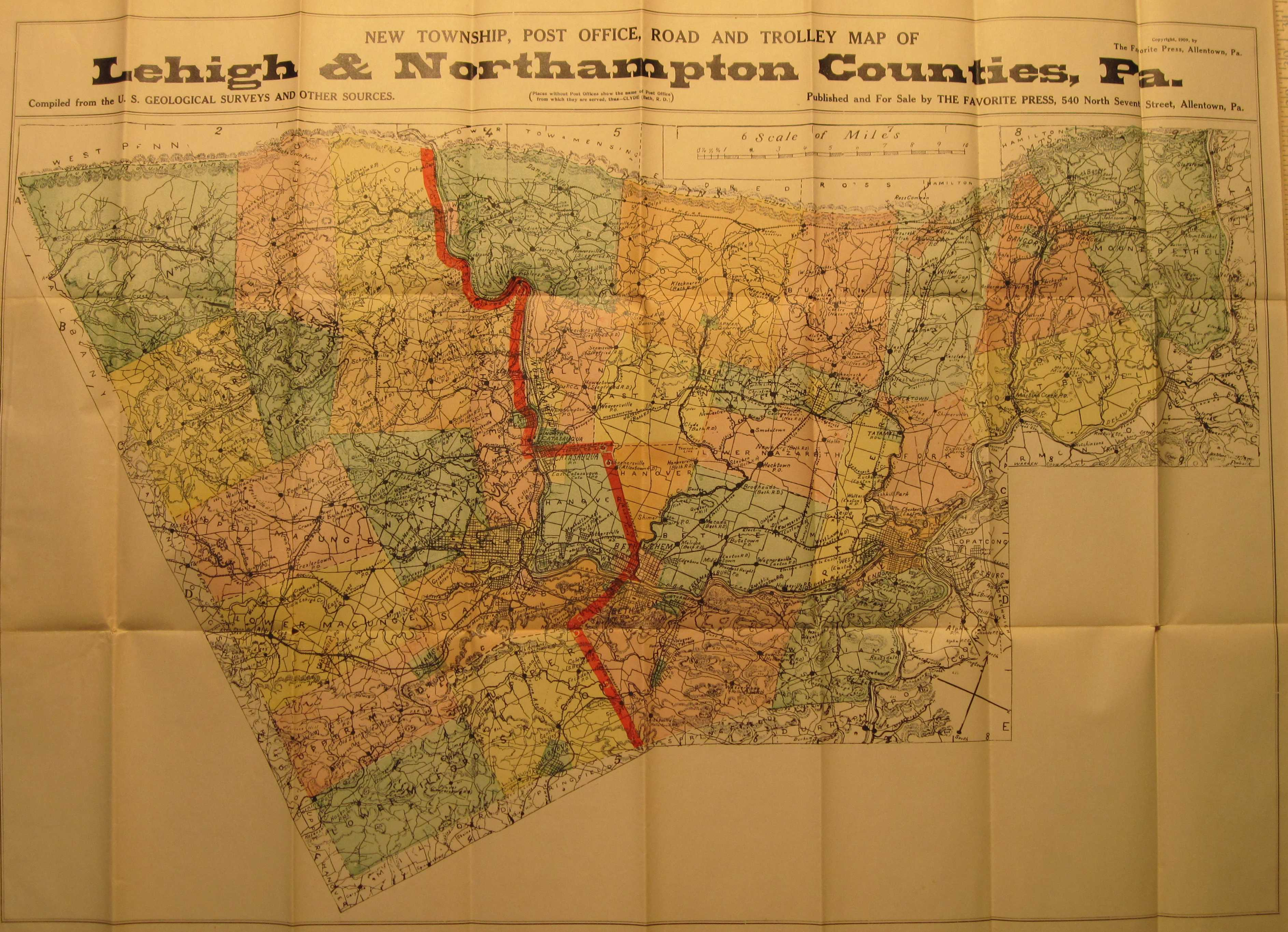 Pennsylvania in early pocket maps 1909 new township post office road and trolley map of lehigh northampton counties copyright 1909 by the favorite press allentown pa publicscrutiny Images
